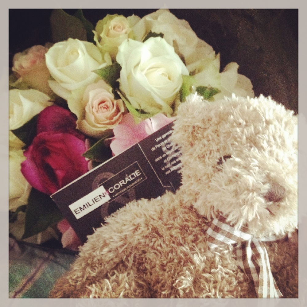 Bouquet et peluche
