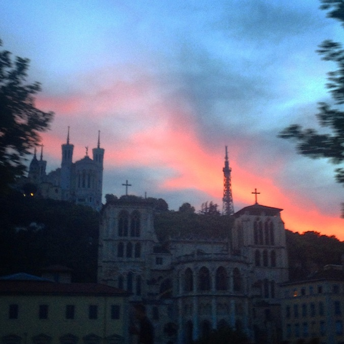coucher de soleil sur Lyon