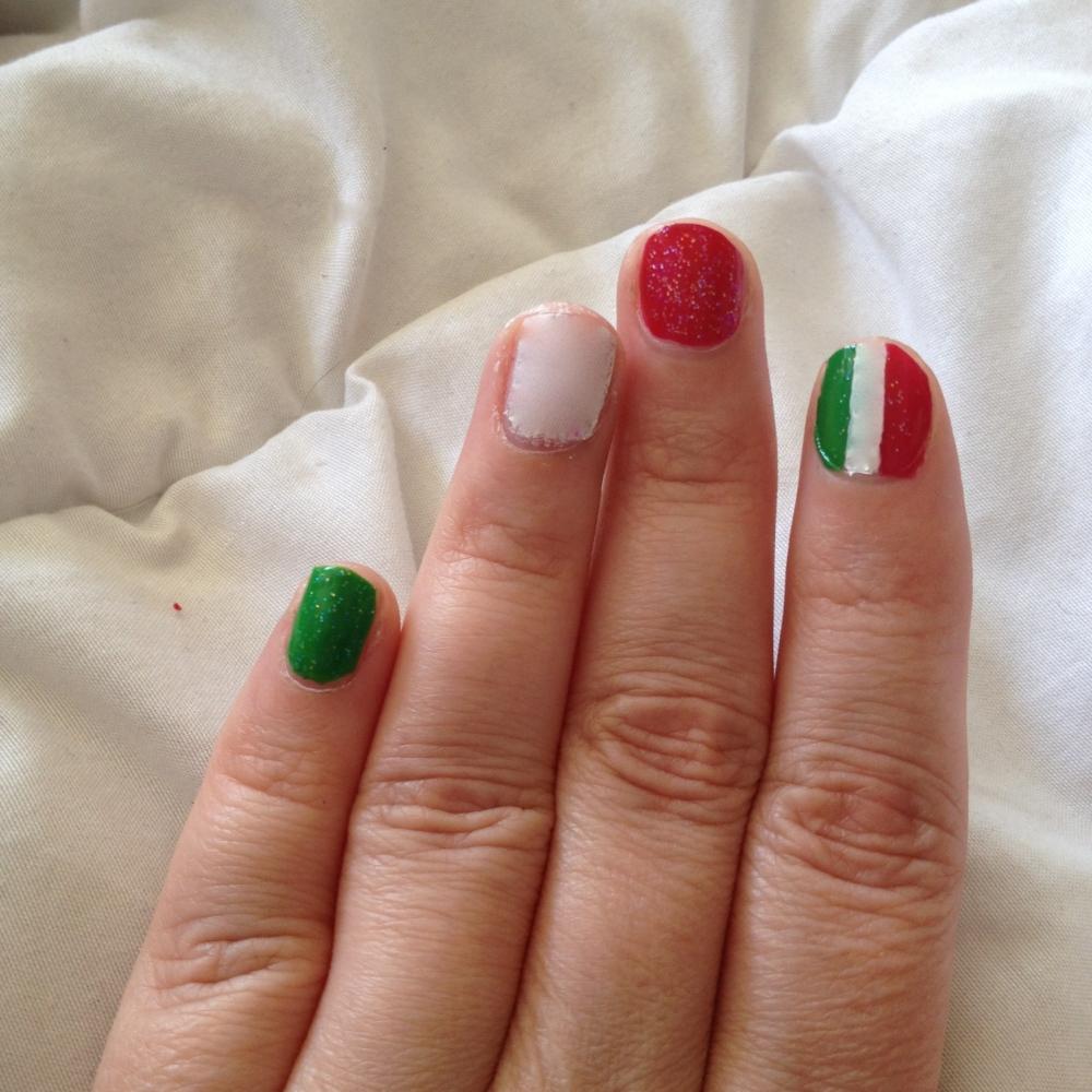 Drapeau italien sur ongles