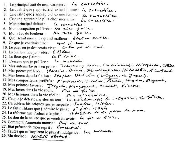 Häufig Et un questionnaire de Proust, un….. – Phénomène de Maud OU21