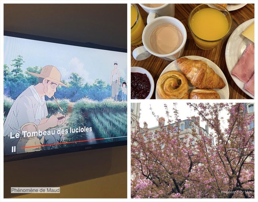 arbre en fleur, ghibli, petit déjeuner