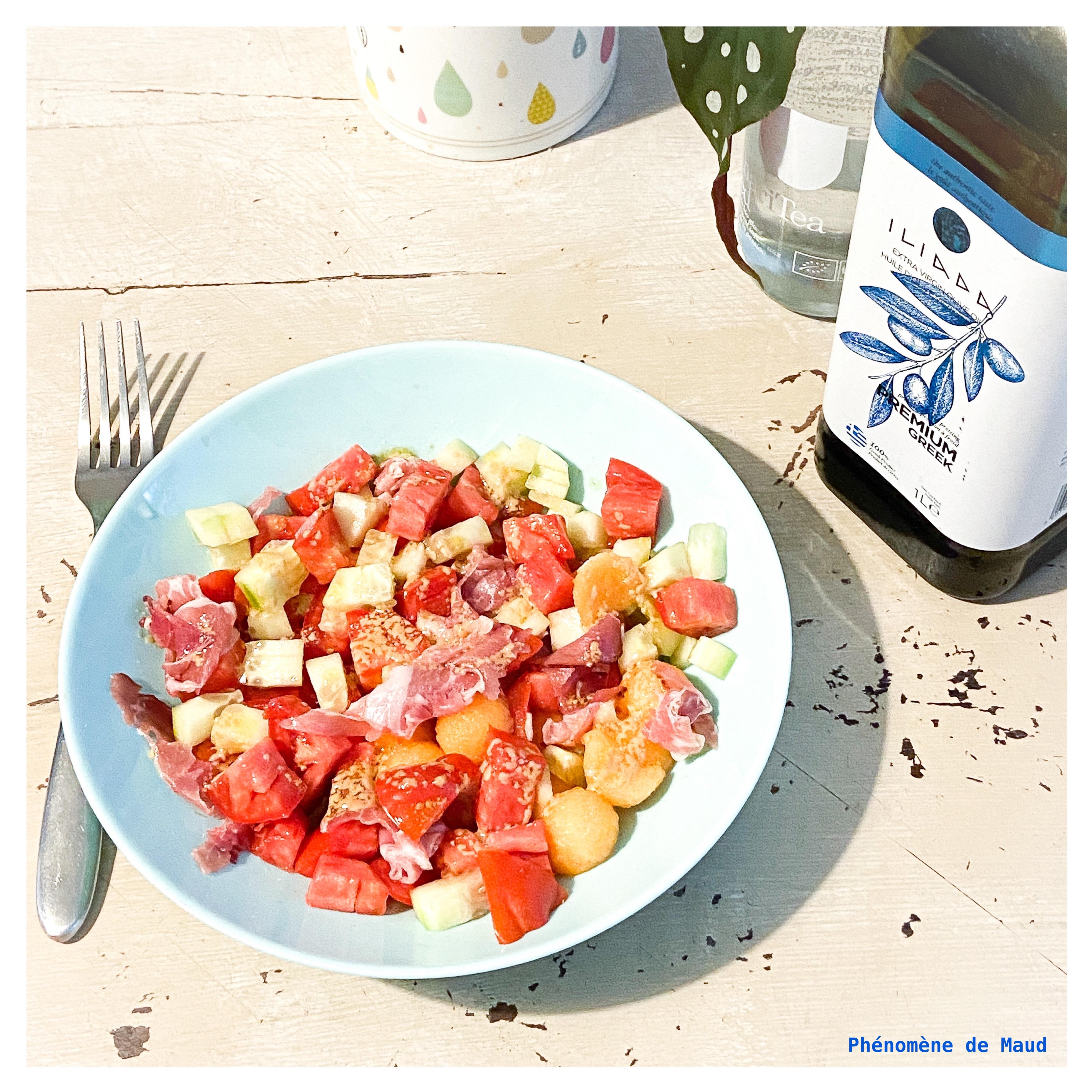 salade tomate melon concombre jambon de parme